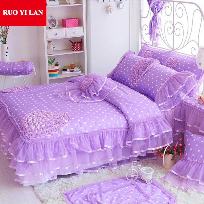 Sweet Princess silk Lace Ruffles duvet cover bedspread bed skirt bedclothes bedding set 4pcs pillowcases king queen pink/purple