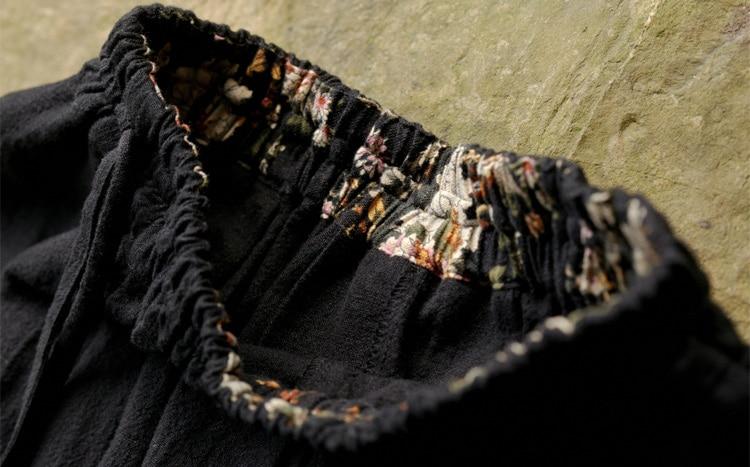Mujeres Mujer Ocasionales Algodón Cintura Red Pantalones navy Blue Casual Black Largo Mobtrs Elástico wine Retro Más Tamaño Femeninos 8wSftRq