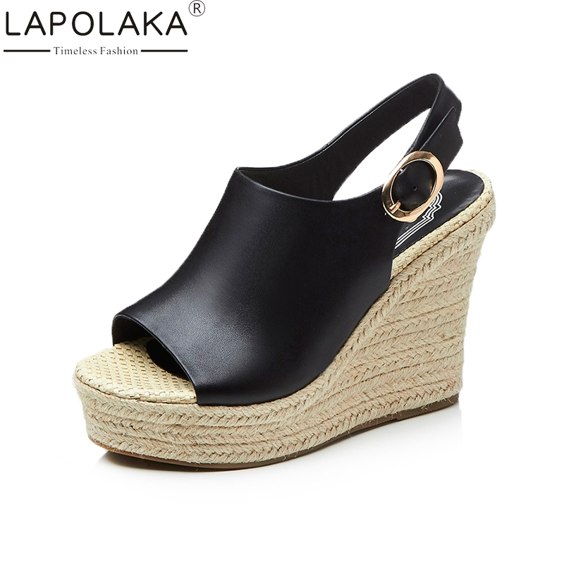 LAPOLAKA Brand New Cow Genuine Leather Woman Buckle Strap Wedges High Heel Women Shoes Platform Summer Sandals Women venchale 2018 summer new fashion sandals wedges platform women shoes height heel 10 cm buckle strap casual cow leather sandals