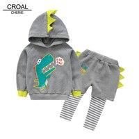 CROAL CHERIE 90-130 cm Leuke Dinosaurus Kids Jongens Kleding Sets 2 stks Trui T-Shirts + Broek Herfst Lange mouwen Jongens Kleding Casual