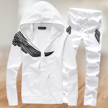 2017 Mens fashion boutique wings printing leisure Motion hoodie Sweatshirts + pants Male casual  movement suit jacket + trousers