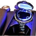 Cinzeiro de cristal de luxo LEVOU luz portátil car auto viagens cilindro cigarro do carro sem fumaça cinzeiro suporte de copo cilindro