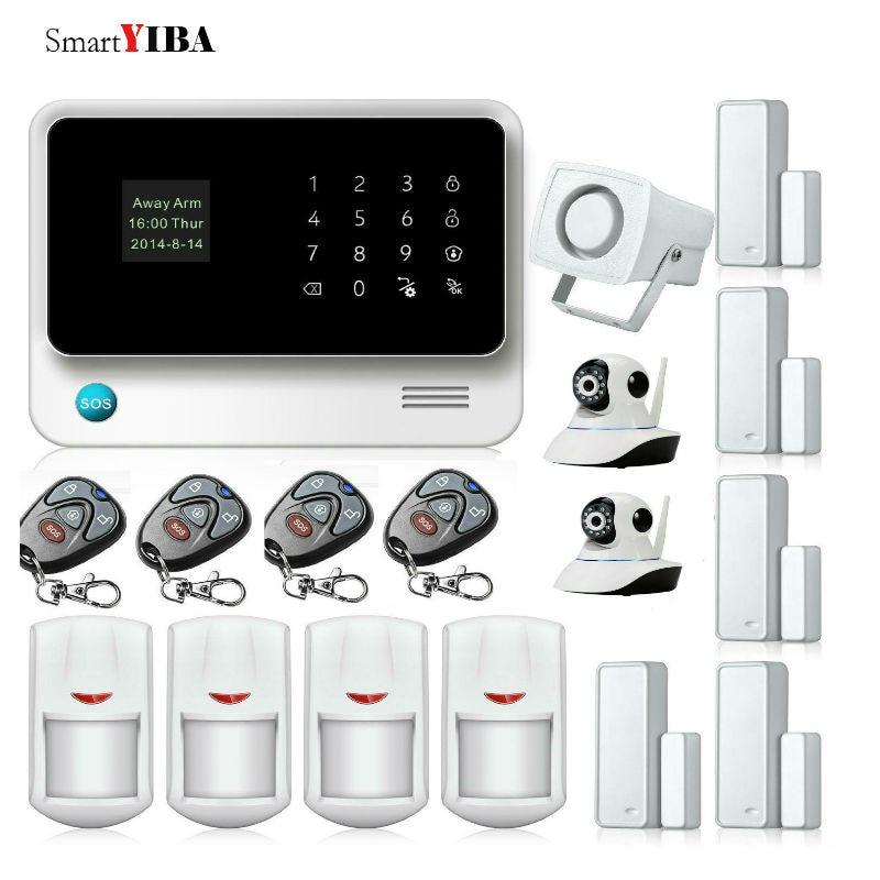 SmartYIBA WIFI GSM Burglar Security Alarm System Wifi Camera Remote Control Infared PIR Door Gap Alarm