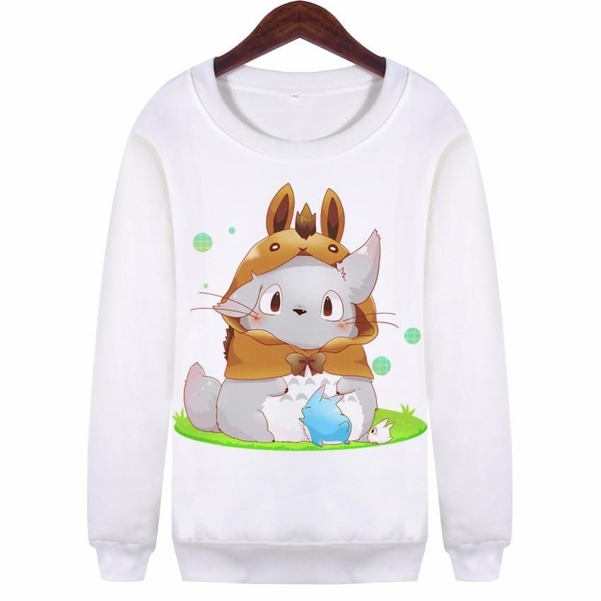 YEMUSEED New Cartoon Printed Hoodies For Women Harajuku Hipster Sudaderas Mujer Sweatshirt White Pullovers WMH107