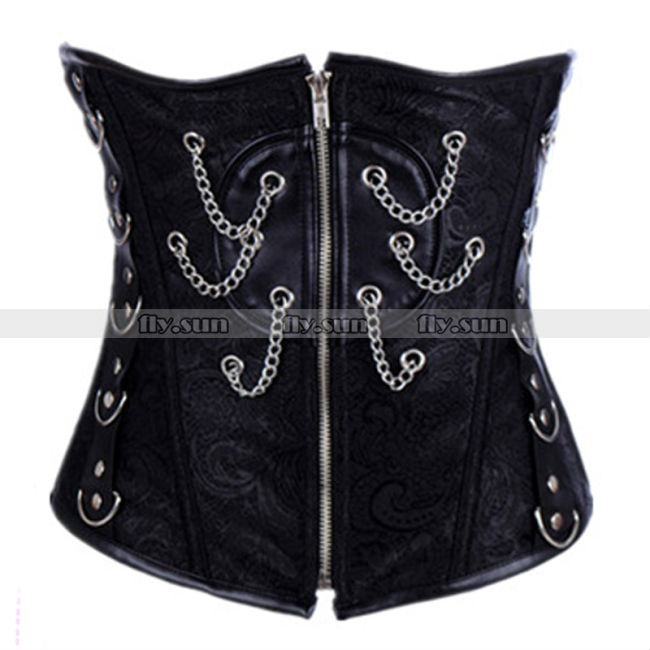 Black Full Spiral Steel Boned Waist Trainer Cincher Lace Up Underbust Corset Basque Punk Costume S M L XL 2XL