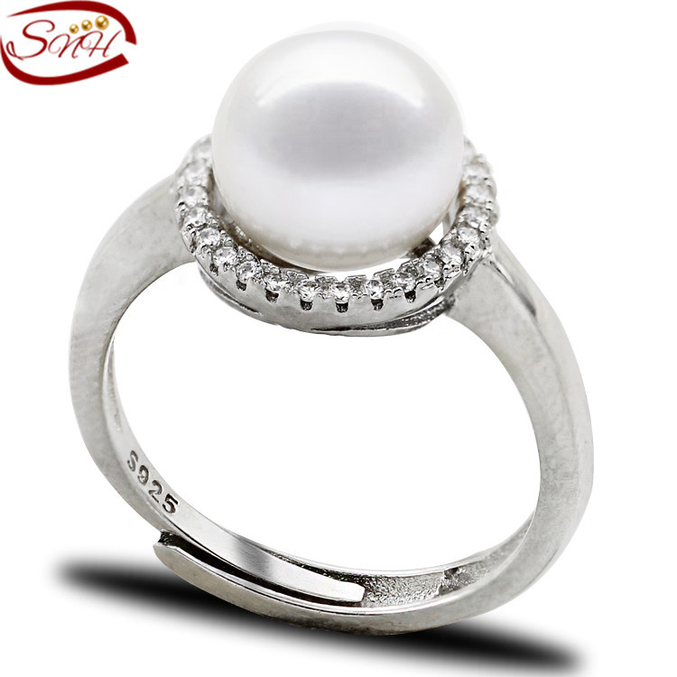 SNH Real natural freshwater pearl ring 925 sterling silver genuine - Fine Jewelry