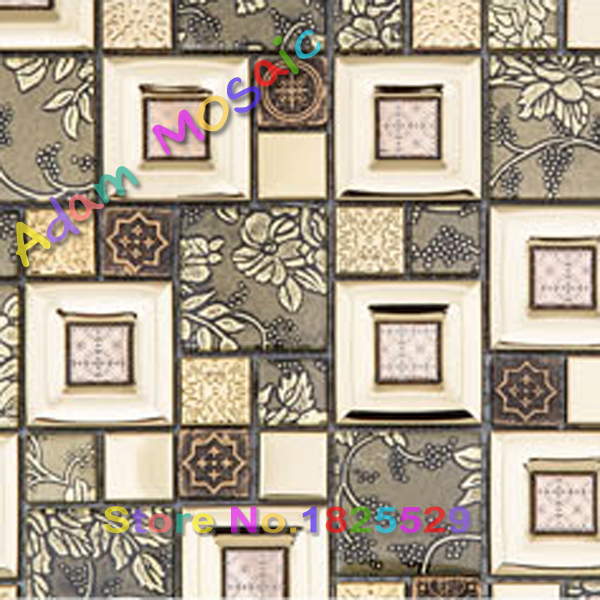 Aliexpress.com : Buy flower tiles art bathroom wall deco golden ...