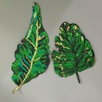 2 stks grote lovertjes groen blad patch, DIY kledingstuk accessoires decoratie banaan laat met pailletten borduurwerk applique patches