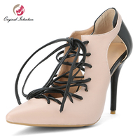 Original Intention Elegant Gladiator Pumps Women Shoes Stiletto High Heels Sapato Feminino Ladies Lace up Apricot Shoes Size 15
