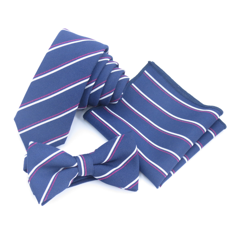 NAVY-blue Tie Men's Korean Narrow Tie, Dark-blue Hand Necktie, Wine-red-white Striped Bowtie,handkerchief College Style