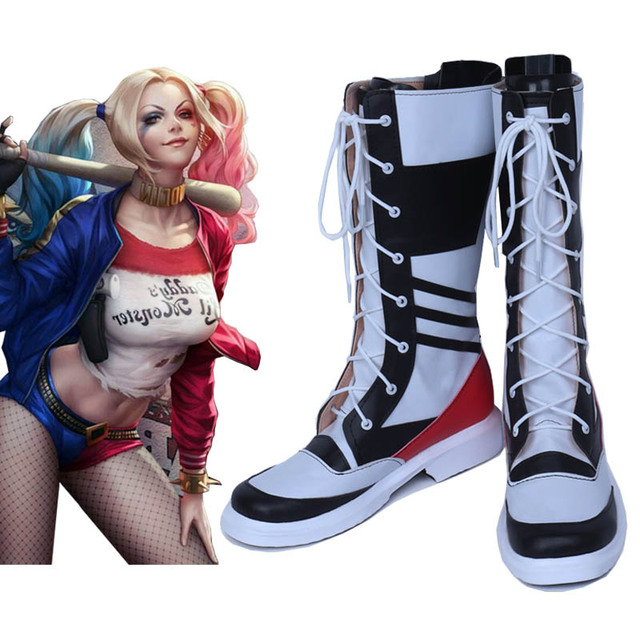 motorcycle joker and harley quinn costumes sapato boots chaussure suicide  squad adult costume cosplay platform shoes 8fa32e44a97