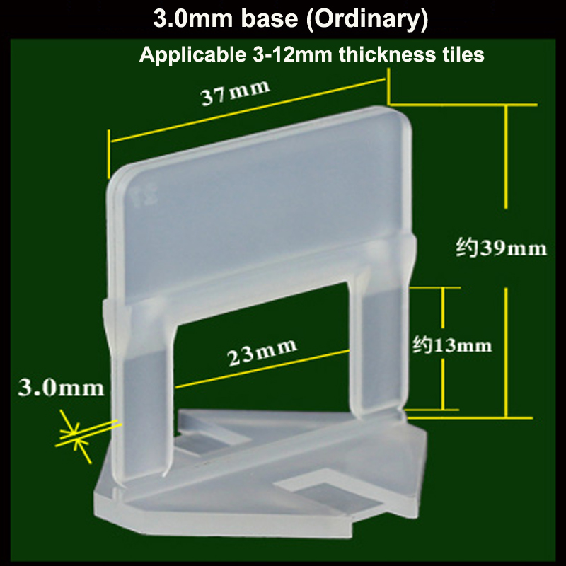 100pcs Environmentally Friendly New Material 3.0mm Tile Leveling Clips/Base Apply To 3-12mm Thickness Tiles