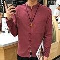 2017 hombres de la Primavera Camisa de Cuello Mao Camisas Respirables de Lino Mezclado Algodón Hombres Camisa Social, China Estilo Slim Fit Para Hombre camisa