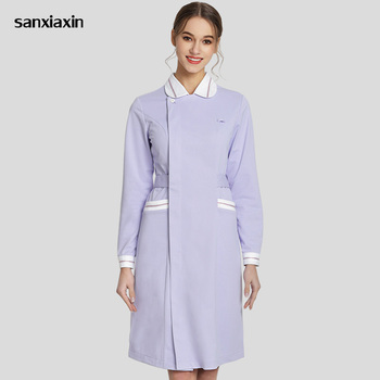 frosted clothes or nurse coat women professional Nurse's robe uniforms Beauty salon clothing ladies long-sleeved sports models