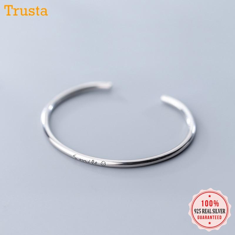Trustdavis 1 Pcs 2019 New 100% 925 Solid Sterling Silver Jewelry Simple English Smiling Face Bangle Bracelet Girls Gift DA53