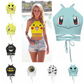 2017 New Arrival halter sexy women vest Pikachu Batman cartoon print tie wrapped chest vest H578