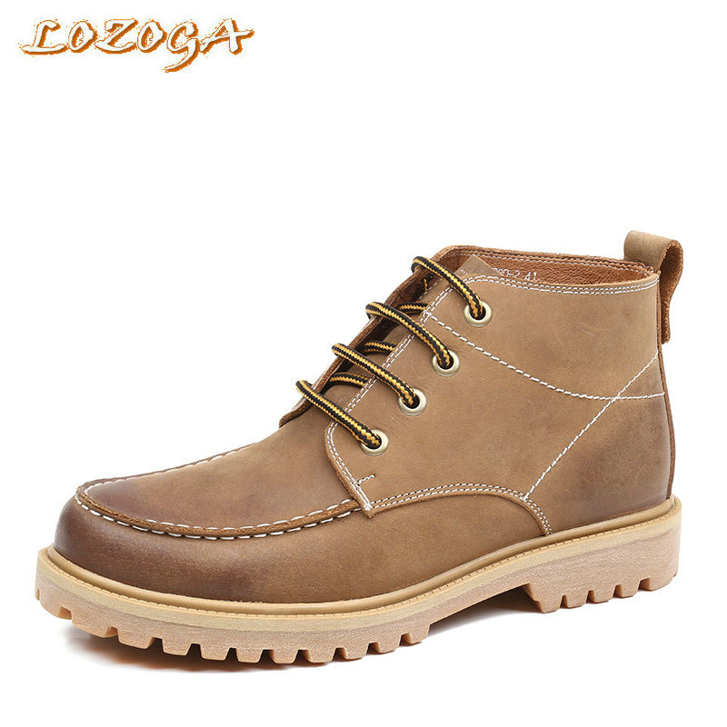 LOZOGA New Mens Boots Nubuck Leather Work Boots High Quality Vintage Boots Man Fashion Shoes Round Toe Ankle Boots Black / Brown lozoga new men shoes fashion boots ankle 100