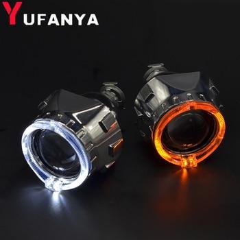 2,5 inch bi xenon Projektor objektiv mit DRL LED angel eyes wanten auto montage kit für H1 H4 H7 xenon auto modell freies verschiffen