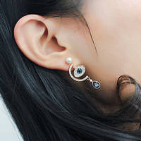 women lucky eyes gilded earrings with pearl and crystal