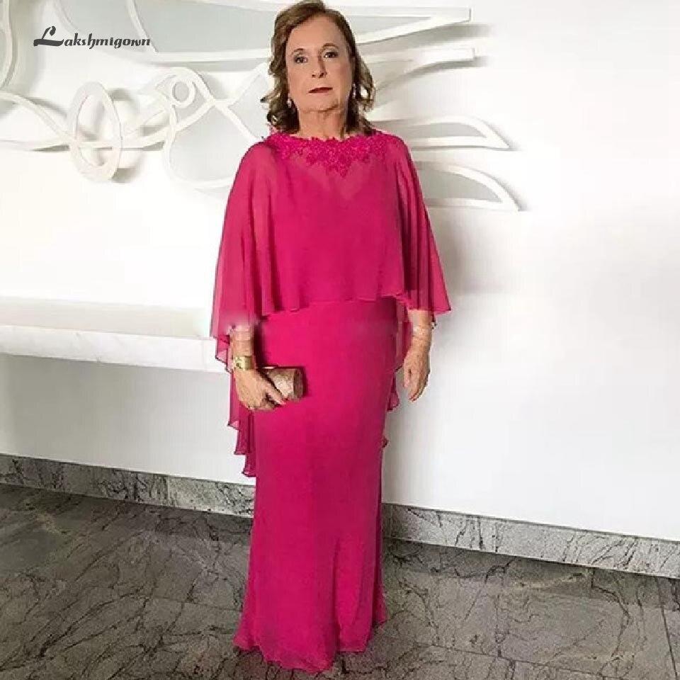 Lakshmigown Fuchsia rose robe de grande taille mère de la mariée avec Cape 2019 robe d'invité de mariage élégantes longues robes de soirée