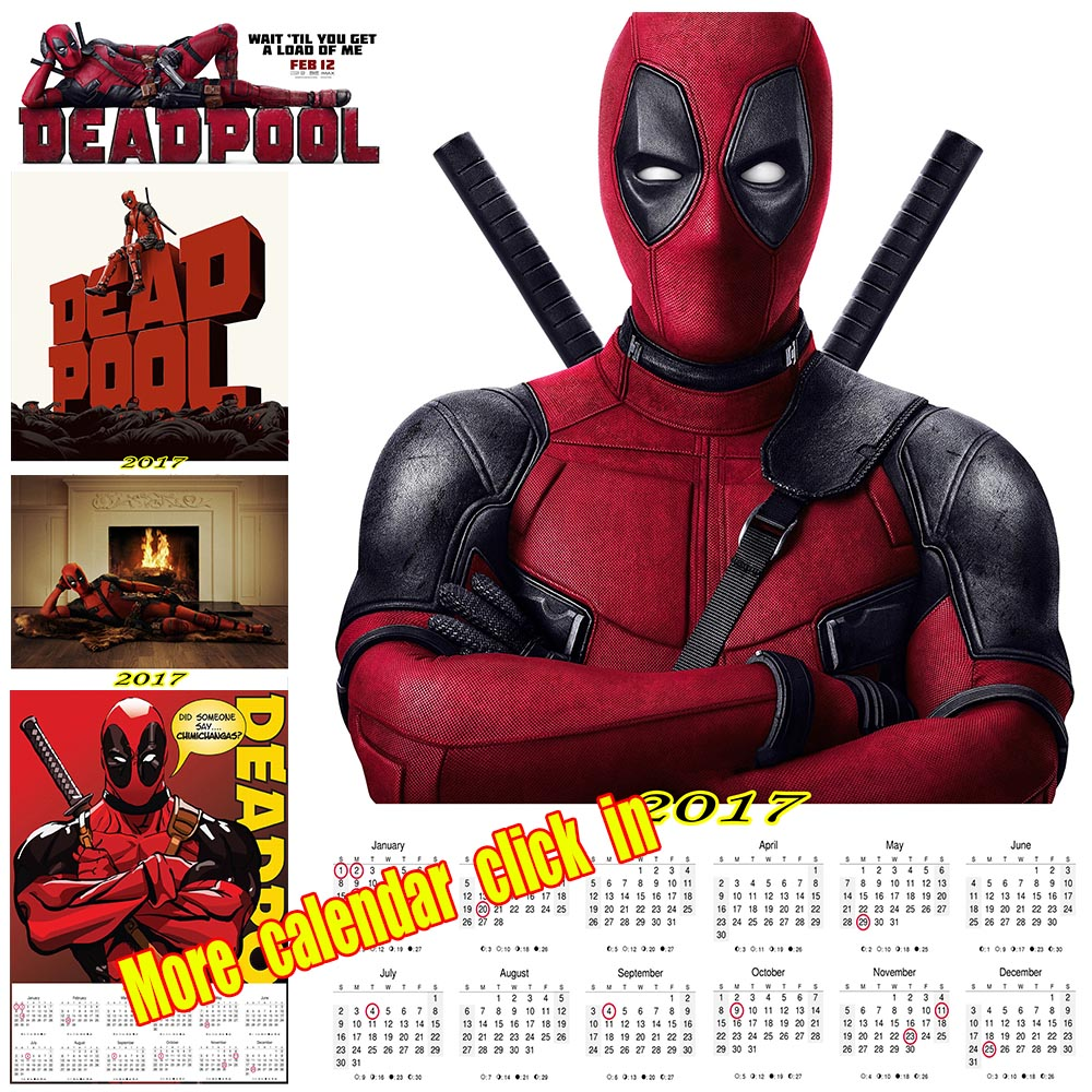 Deadpool 2017 calendar poster Vintage Retro movie Antique ...