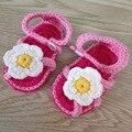 2015 NewCrochet recién nacidos verano del bebé zapatos de bebé hechos a mano de las sandalias zapatillas