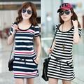 Plus Size coreano Moda Primavera Verão Novo 2014 Roupas Femininas Manga Curta Stripes Imprimir Vestidos de Algodão Bodycon Bonito Vestido Da Menina