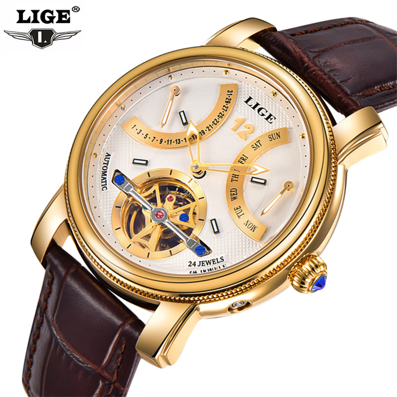 LIGE Fashion Mens Watches Top Brand Luxury Automatic Mechanical Watch Men Military Waterproof Sport Wrist Watch Relogio Masculin men watches lige top brand luxury men s sports waterproof mechanical watch man full steel military automatic wrist watch relojes
