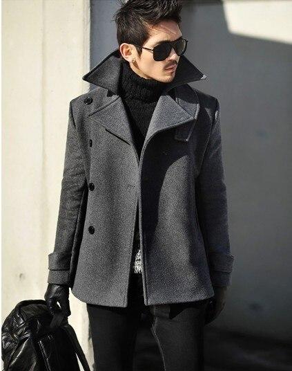 Серый 2017 осень зима шерстяное пальто тонкий средней длины мужские шерстяные пальто однобортный повседневная шерстяные мужские шерсть военная пальто 3XL