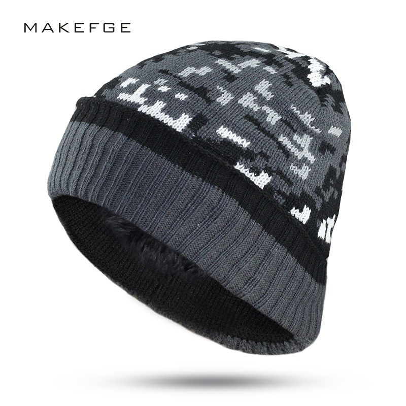 Men's winter camouflage hat warm knit hat thickening warm Beanies high quality man hat boy fashion autumn fashion cap 2017 free shipping 2016 new 1pcs wholesale diamond grid stripe knit cap man and a woman in winter warm hat 100% quality assurance