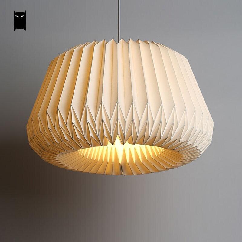 US $156.0  Handgemachte Weiße Papier Origami Laterne Schatten Pendelleuchte  Kabel Leuchte Nordic Kreative Kunst Dekoration Hängeleuchte ...