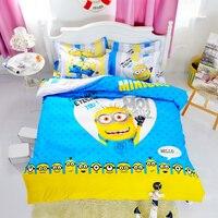 Ropa de Cama de dibujos animados Minions 3d Bedding Set Hello Kitty Stitch para los niños de Regalos 4 unids Duvet Cover Set de Cama Hoja fundas de almohada