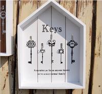 צבע לבן Countyside אירופאית יצירתי בסגנון וו 5 וו מפתח קיר עץ קולב בית הגינה וול דקו