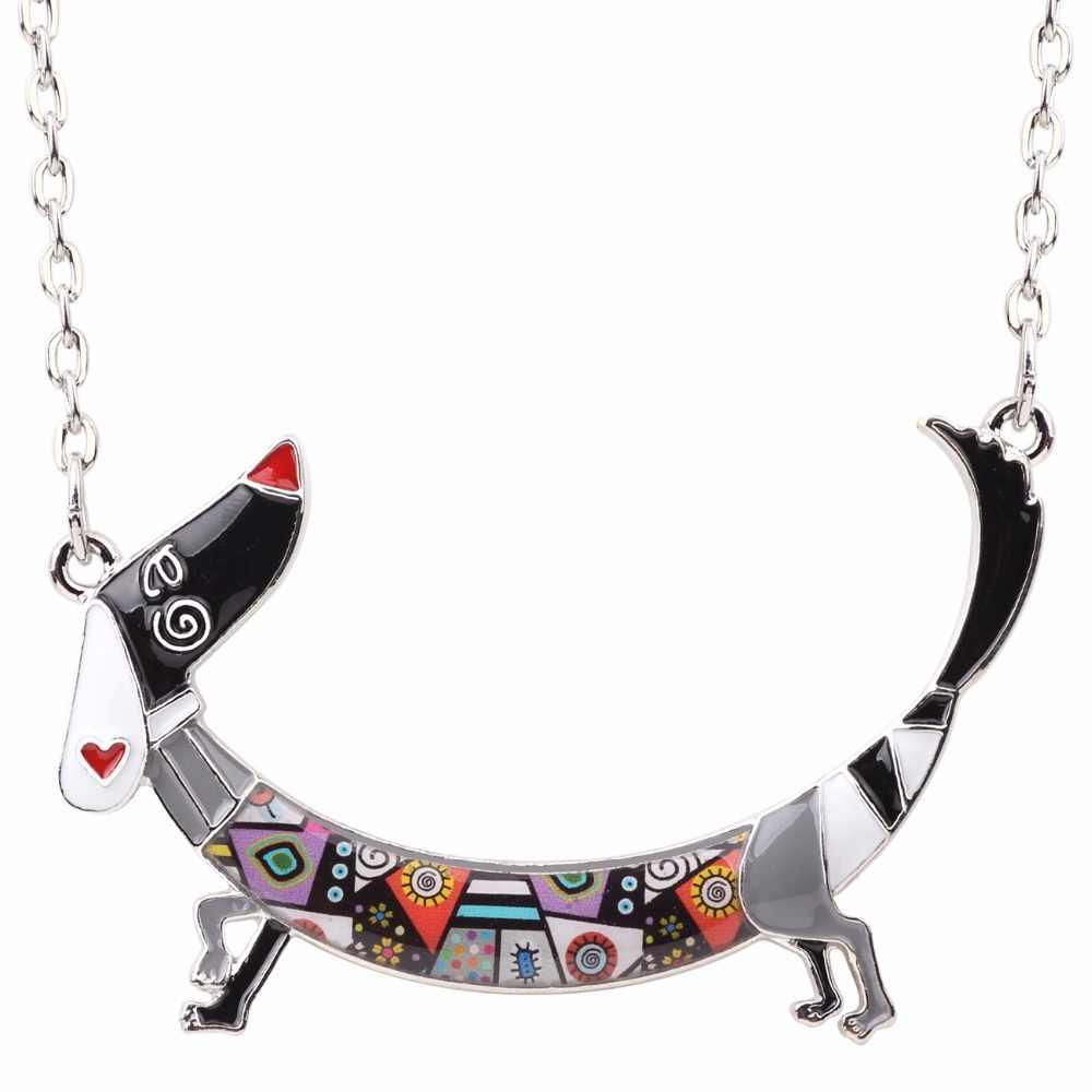 Bonsny Logam Enamel Lucu Dachshund Anjing Rantai Kalung Liontin Kerah Kartun Hewan Perhiasan untuk Wanita Gadis Pecinta Hewan Peliharaan Hadiah Massal