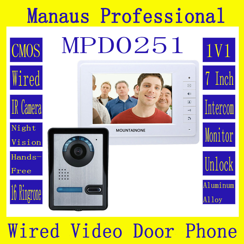 Professional Smarthome 7 Inch Color Video Door Phone Doorbell Intercom Kit 1-camera 1-monitor Night Vision System D251a 7 inch monitor video door phone intercom doorbell kits 1v6 video doorbell doorphone intercom system night vision alloy camera