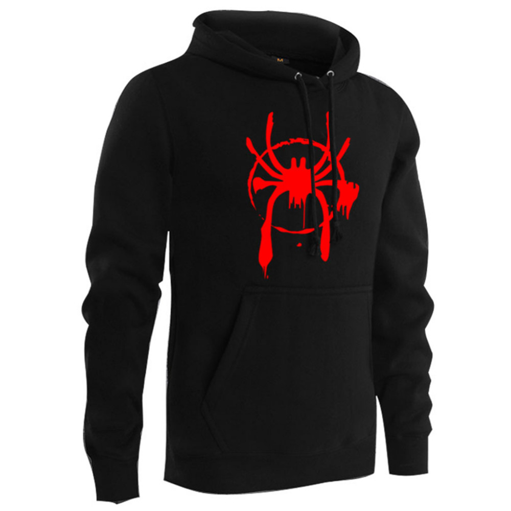 Men Cosplay Hoodie Spider-Man Into the Spider-Verse Mile Morales Pullover Pocket Cosplay Costume