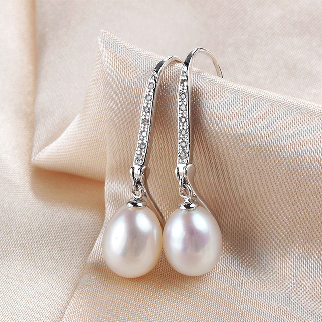 LINDO Classic Pearl Earrings,Genuine natural freshwater pearl dangle earrings for women, silver drop earrings 8-9mm 3 colors 043