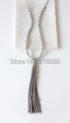 N16071303 Freshwater Pearls Beads Necklace Faux Suede Leather Tassel Necklace