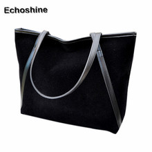 2016 popular New Simple Winter Larger Capacity Leather Suede Women Bag Messenger Large Tote Ladies Purse gift wholesale