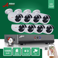 ANRAN 8CH Hybrid 720P AHD DVR 1800TVL Waterproof Array IR Outdoor Home CCTV Security Camera System