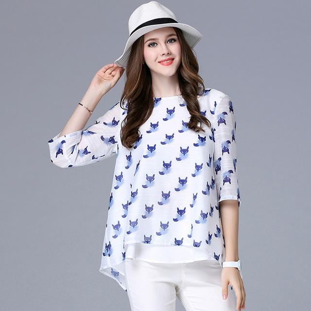 Primavera Outono das mulheres T-shirt de três quartos O pescoço animais raposa impressão padrão plus size mulheres casual solto tops XL-5XL