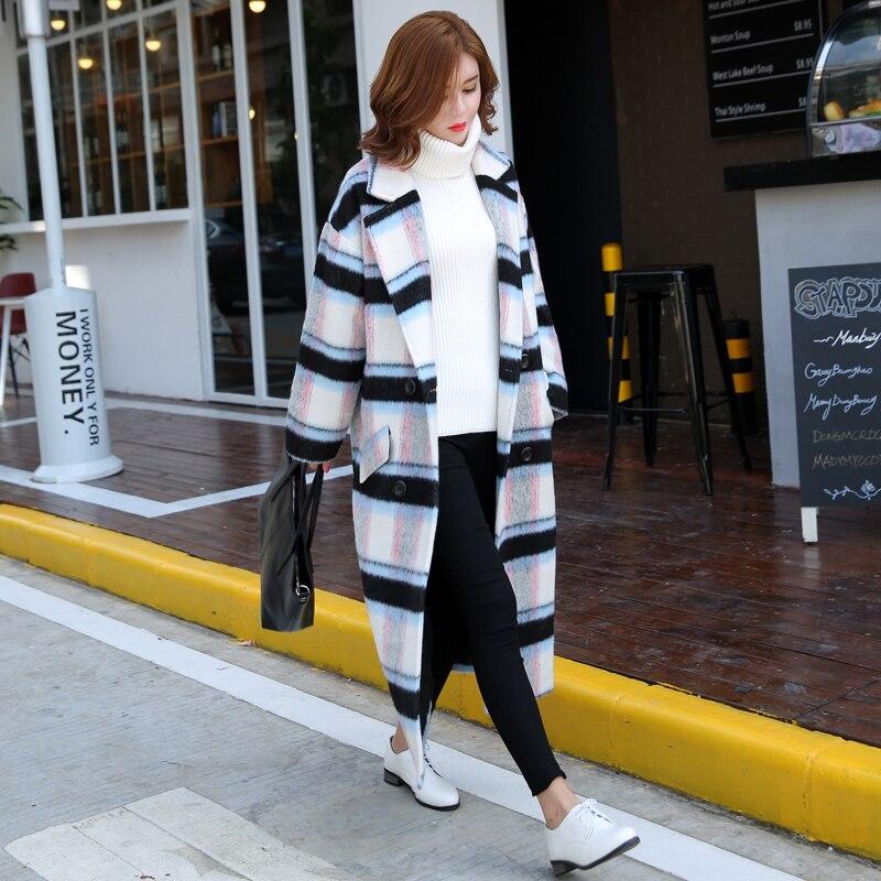 X Blanc Femmes Jq43 Hiver Garder White Lâche Treillis Angleterre Occasionnel Nouvelle Mode Épaissir long Style Chaud Manteau Robes De Laine Femme Au aqdPwBq