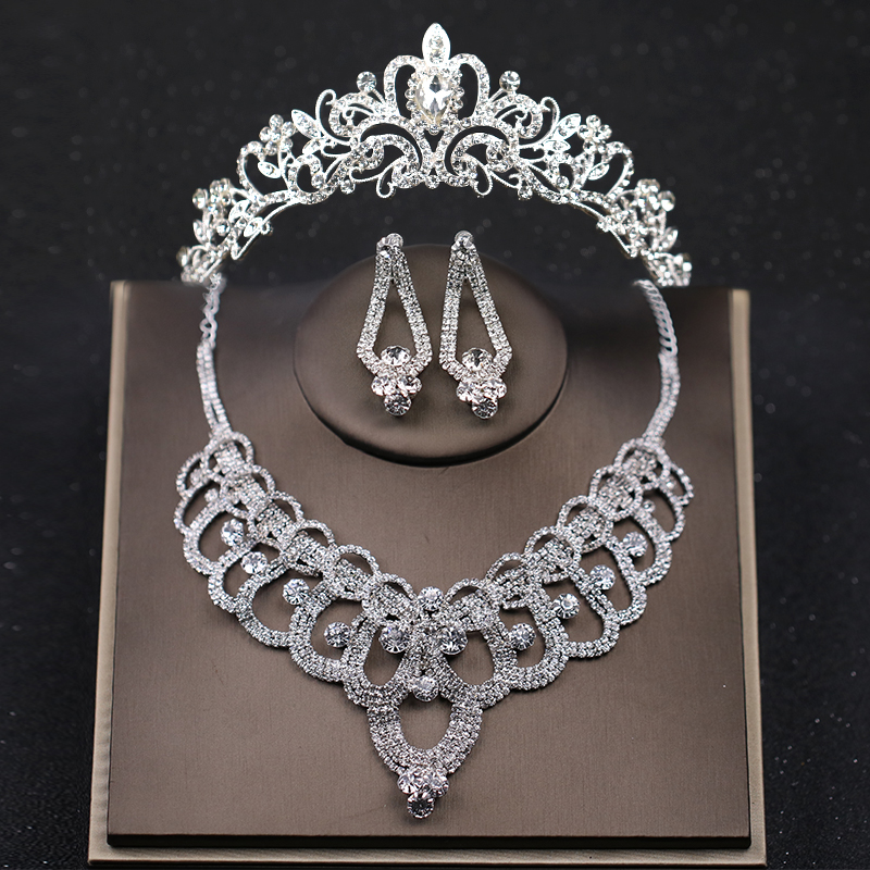 Luxury Silver Wedding Hair Jewelry Crystal Bride Princess Crowns And Tiaras Necklace Earring Sets Women Hair Accessories 03 red gold bride wedding hair tiaras ancient chinese empress hat bride hair piece