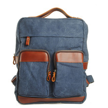 Canvas cowhide west Leather Europe America Multi Pockets show school book computer college laptop travel new solid backpack bag