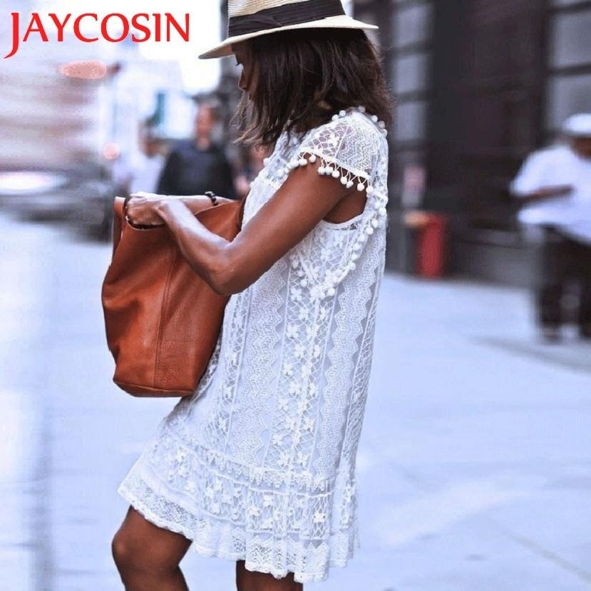 Mujeres calientes Casual Playa Mangas de Encaje corto vestidos de vendimia verano vestido de festa 1 unids fringe volando vestido sexy 920