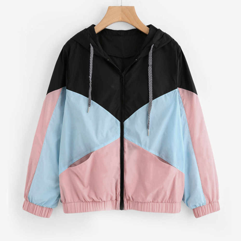 51e57651f13 New Year Spring Women Fashion Outerwear & Coats Jackets Long Sleeve Patchwork  Hooded Coat Female Long
