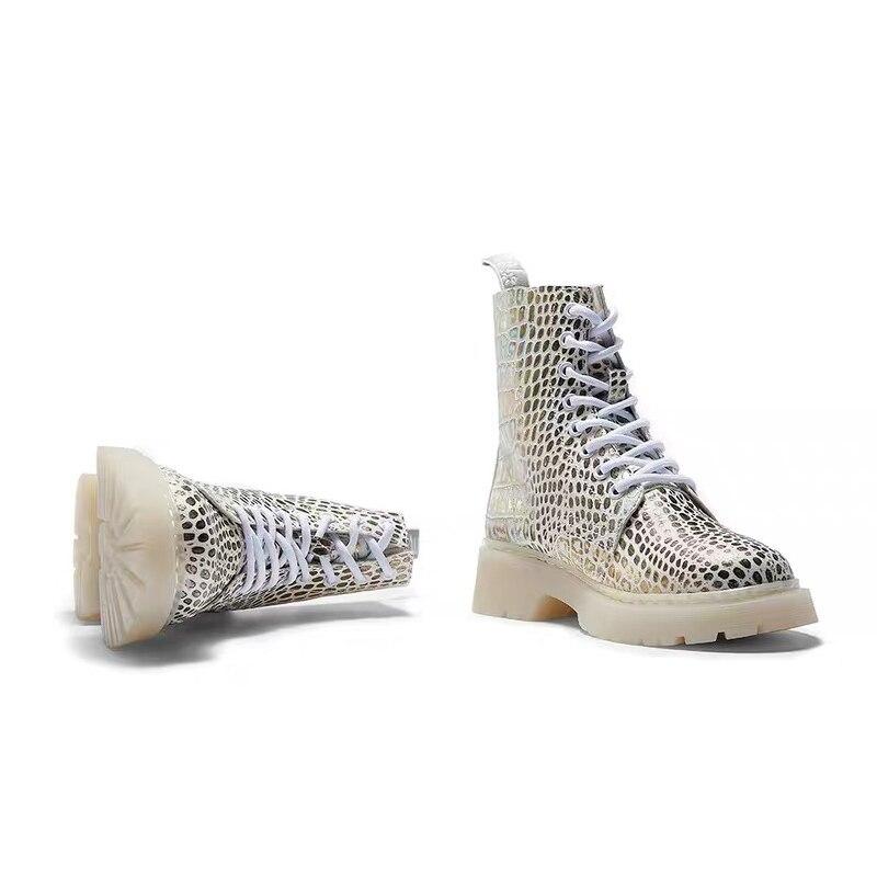IGU Martins Stiefel Frau Schuhe Mit Warme 100% Echt Leder Neue Mode Europäischen Stil Gold Stiefeletten Wohnungen Botines Mujer 2019 - 4