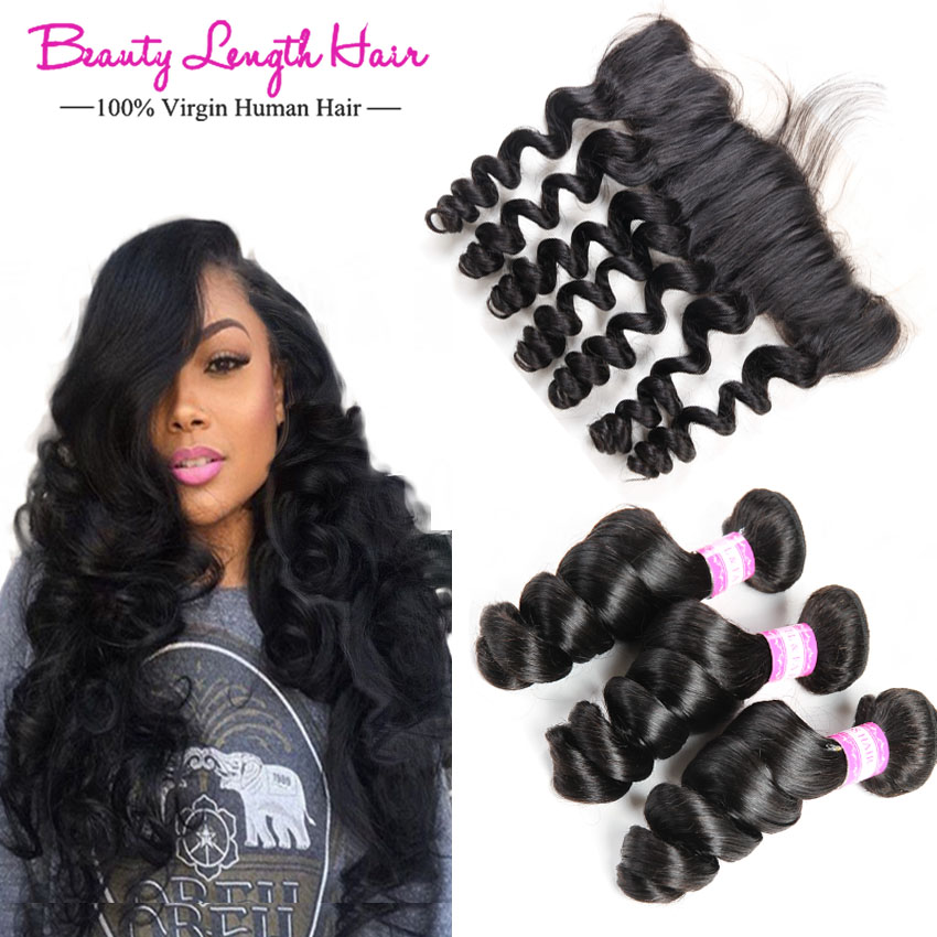 8a Virgin Peruvian Loose Wave Wavy 3 Bundles With Frontal King Bele Peruvian Virgin Hair Loose Wave Lace Frontal With Bundles