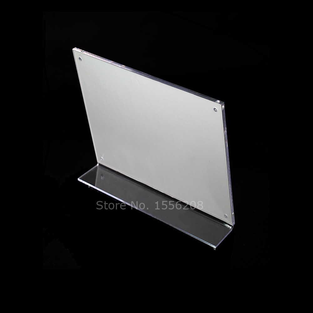 200x150mm Horizontal Slanted L Shape Acrylic Photo Frame Holder Sign Picture Display Stand