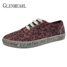 Woman Flats Canvas Shoes Leopard Women Casual Shoes Brand Sneakers Lace Up Spring Autumn White Shoe Female Round Toe New Arrival цена